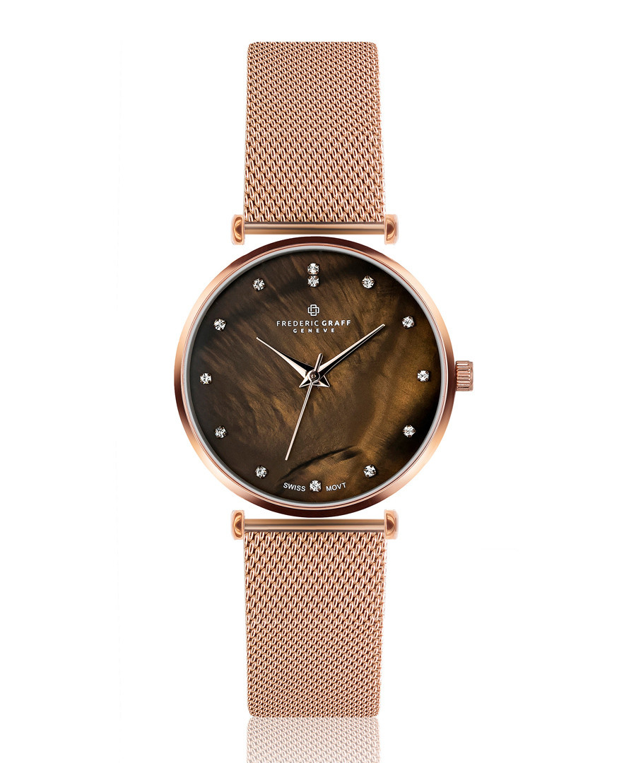 Mont Brule rose-gold tone mesh watch Sale - frederic graff