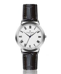 Weisshorn black moc-croc leather watch