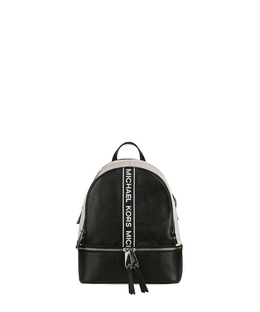 Rhea Medium black Logo Tape Backpack Sale - michael kors