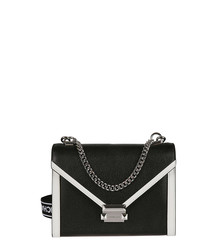 Whitney black leather convertible bag