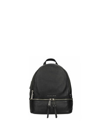 Rhea black leather backpack