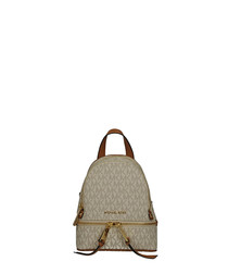 Rhea XS tan & cream print backpack
