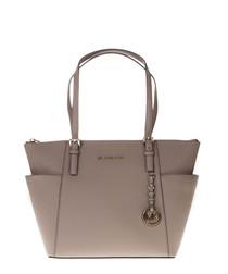 Taupe leather shopper bag