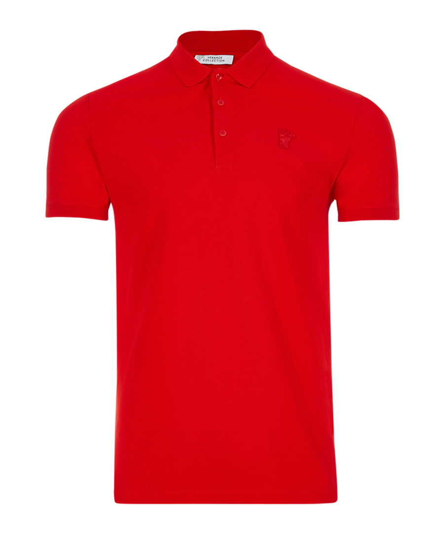wax red pure cotton polo shirt Sale - versace collection