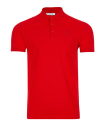 wax red pure cotton polo shirt