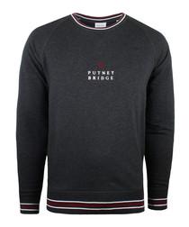 Dark grey cotton blend logo jumper