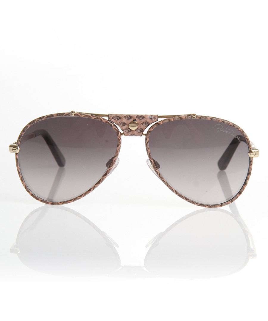 Gold-tone embellished aviator sunglasses Sale - roberto cavalli