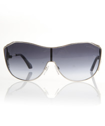 Silver-tone & blue oversized sunglasses