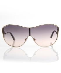 Gold-tone & violet oversized sunglasses