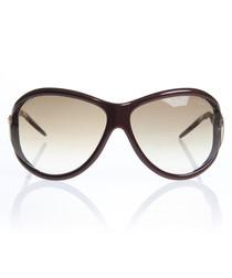 Burgundy & gold-tone sunglasses