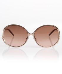 Gold-tone & pink oversized sunglasses