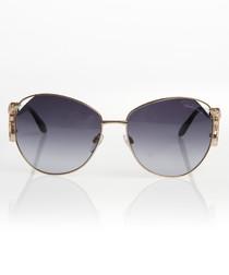 Gold-tone & grey-blue sunglasses