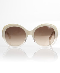 Brown & ivory thick-rim sunglasses