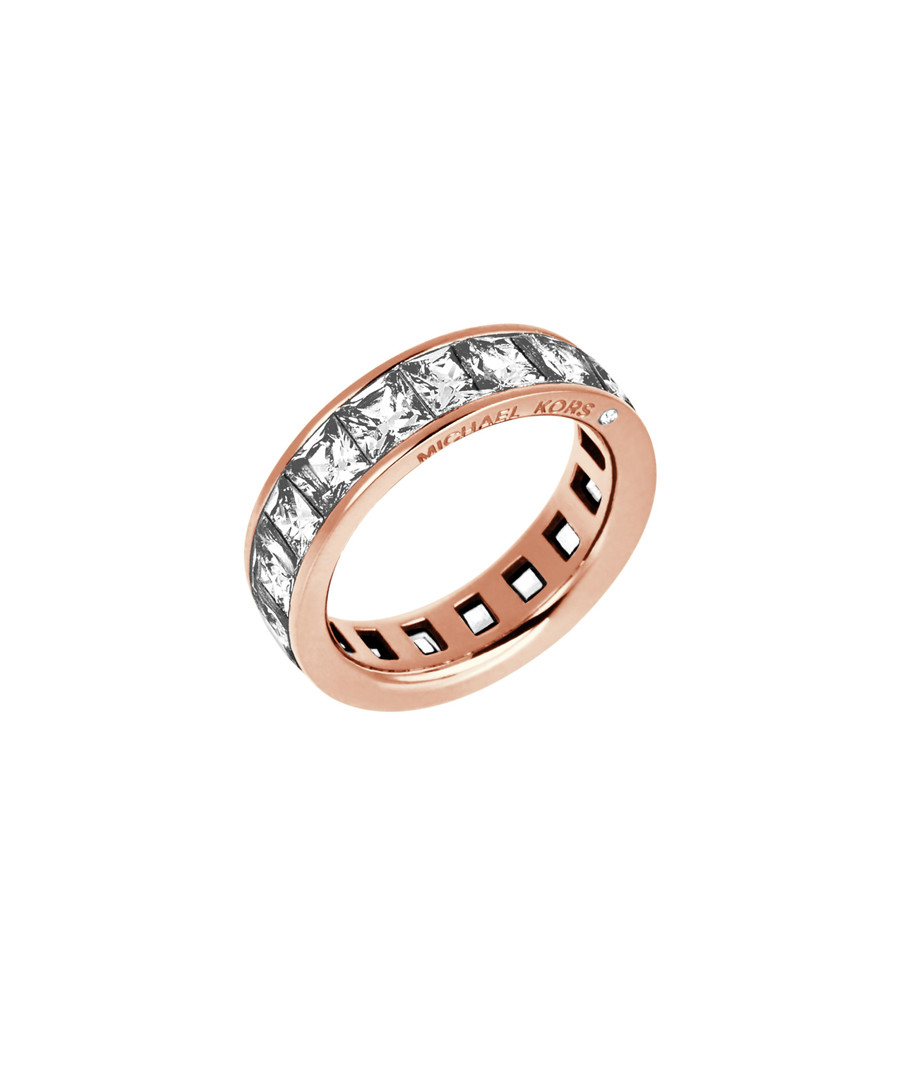 Rose gold-tone & crystal steel ring Sale - michael kors