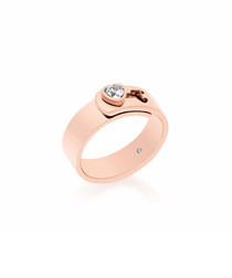 Rose gold-tone steel panel ring