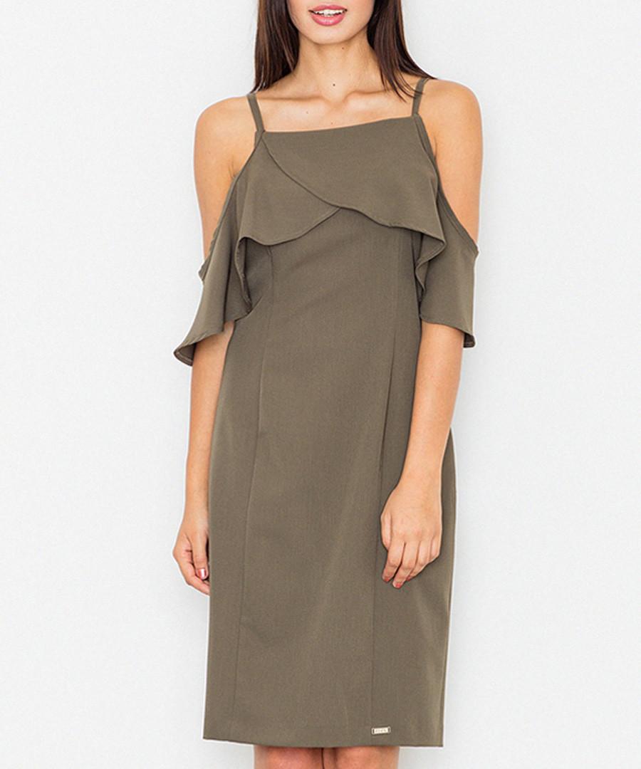 Olive green cold-shoulder dress Sale - figl