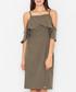 Olive green cold-shoulder dress Sale - figl Sale