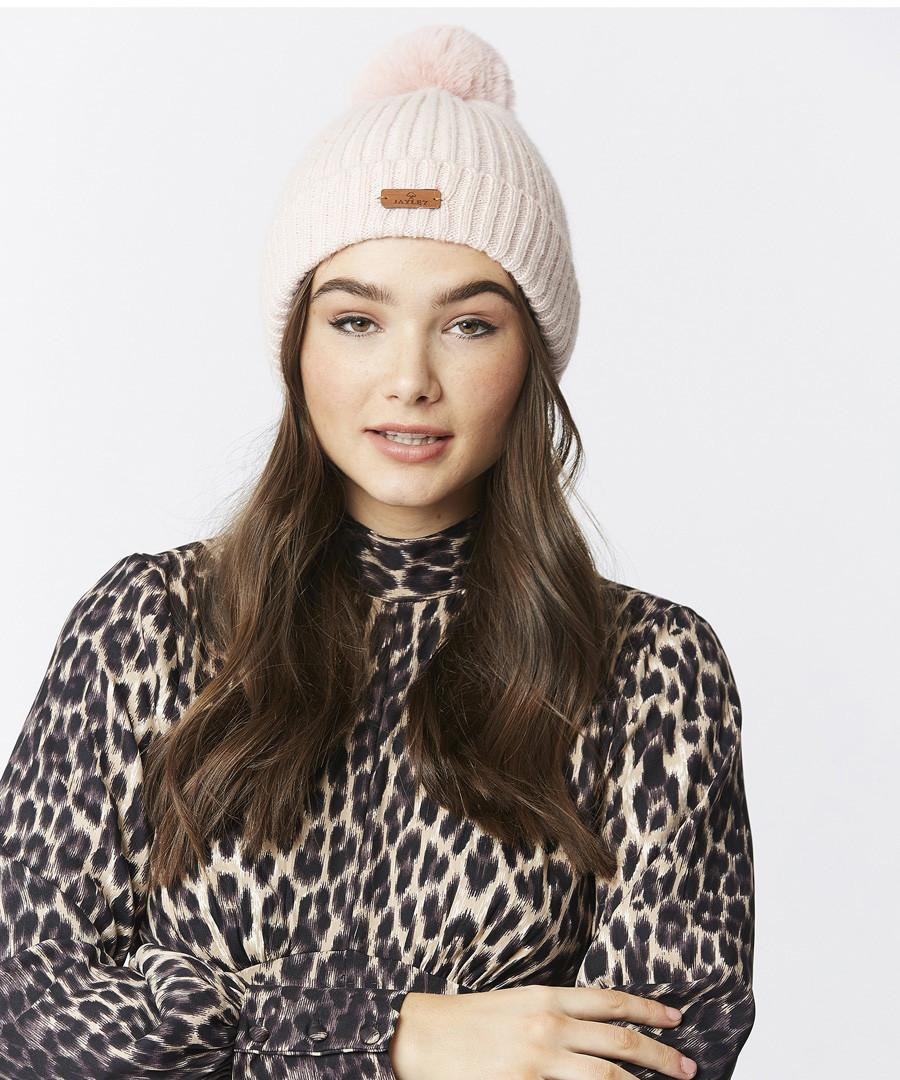 Blush wool blend bobble hat Sale - jayley