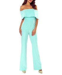 Mint off-the-shoulder jumpsuit