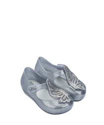 Girls' Silver glitter butterfly pumps