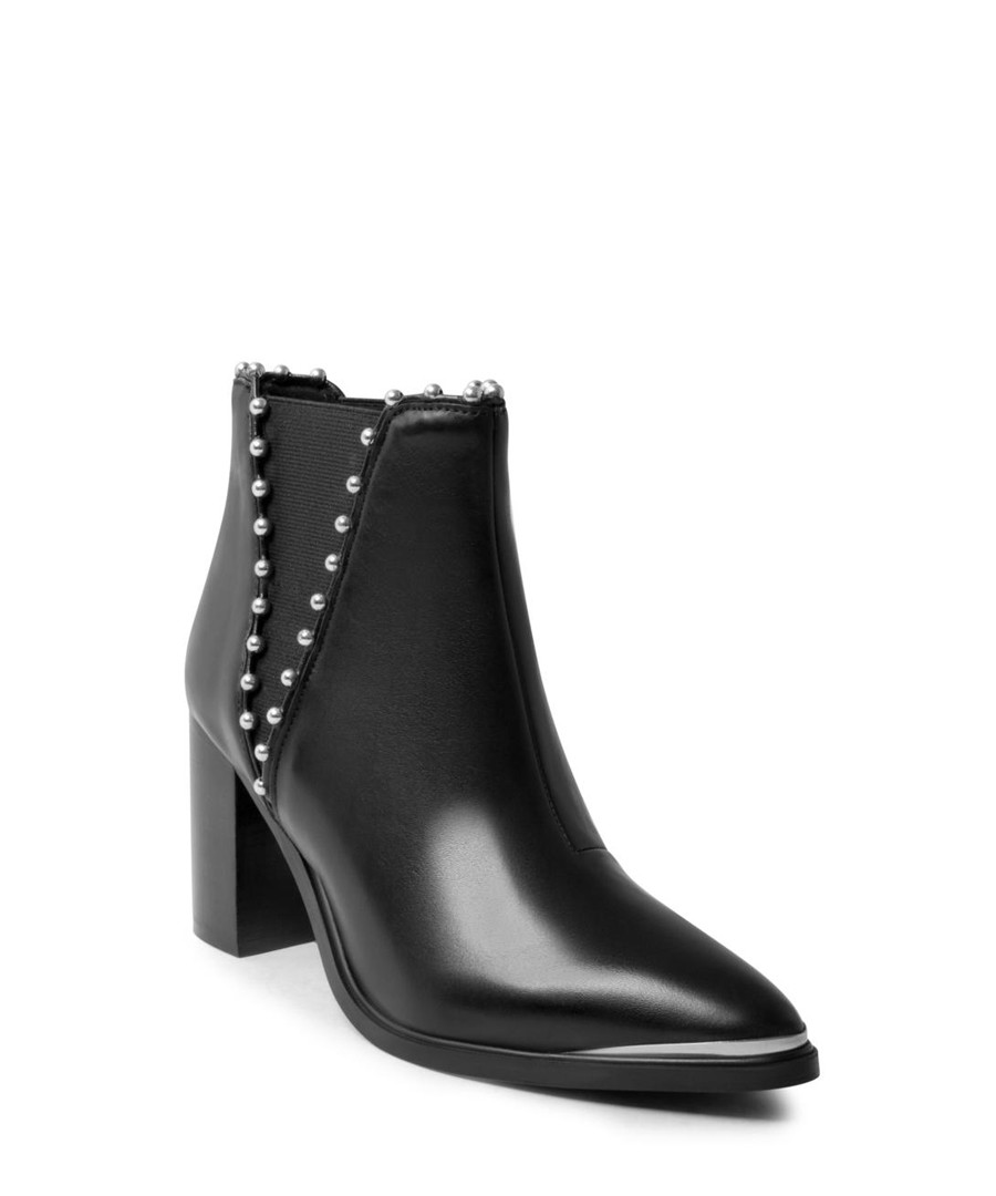 d0c6b2c7856 ... Himmer black leather Ankle boots Sale - steve madden ...