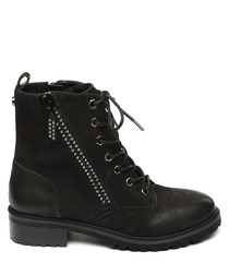 Monkey black leather lace-up ankle boots
