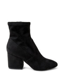 Iberia black microsuede ankle boots