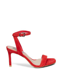 Faith red suede mid-heel sandals