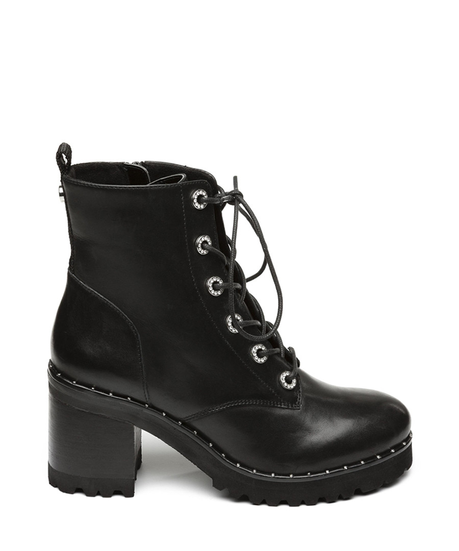 Xina black leather lace-up ankle boots Sale - Steve Madden