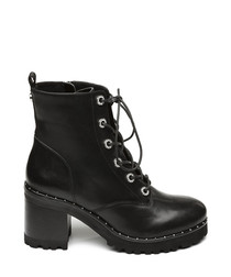 Xina black leather lace-up ankle boots