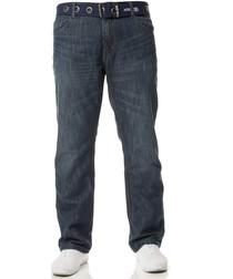 Men's Blue Straight Leg Belted Jeans