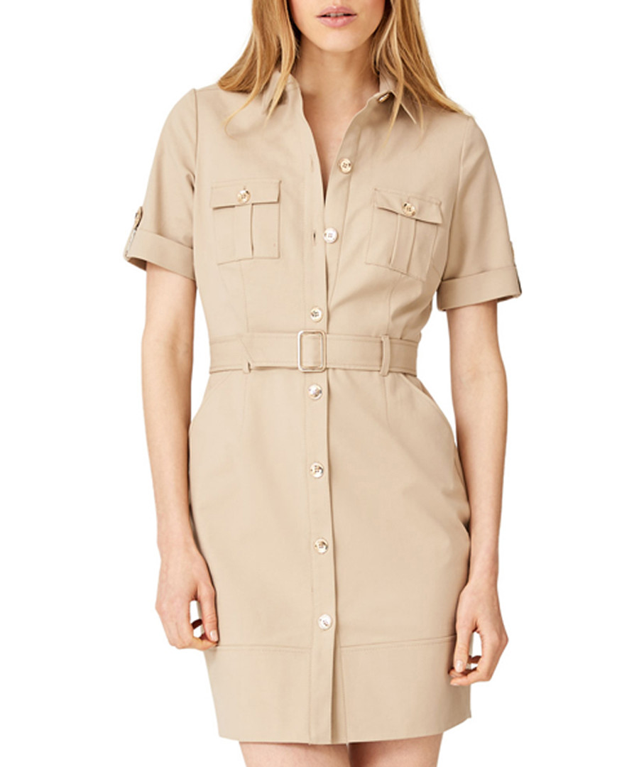 Fia beige cotton blend safari dress Sale - damsel in a dress