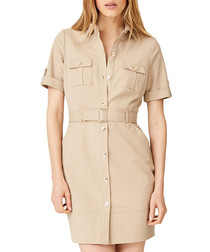 Fia beige cotton blend safari dress