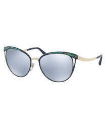 Gold-tone & blue sunglasses