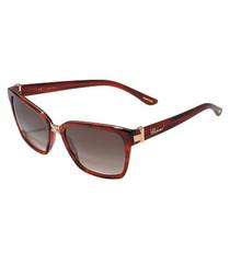 Dark red & brown rectanglar sunglasses