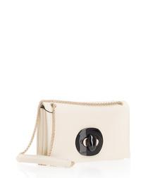 white leather twist-lock shoulder bag