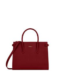 Crimson leather grab bag