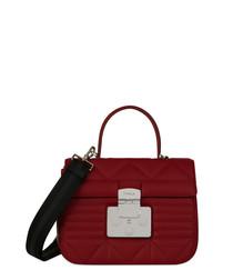 Deep red leather quilted shoulder bag