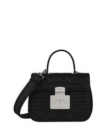black leather quilted shoulder bag