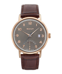 Gold-tone & brown moc-croc leather watch