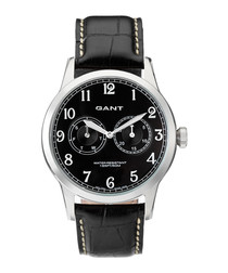 Silver-tone & black leather watch