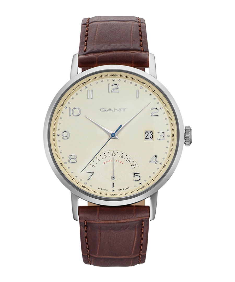 Silver-tone & brown leather watch Sale - gant