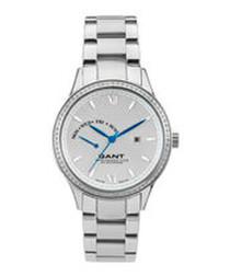 Silver-tone link strap watch