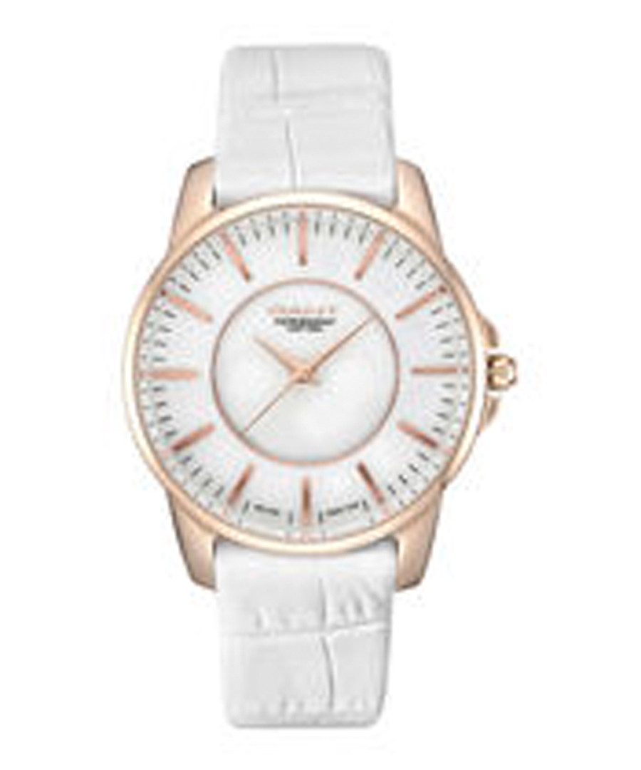 Gold-tone & white moc-croc leather watch Sale - gant