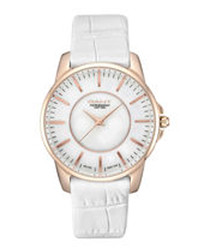 Gold-tone & white moc-croc leather watch