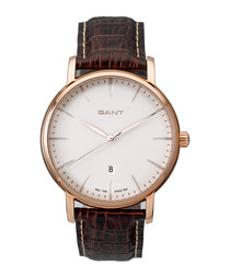 Gold-tone & brown leather watch