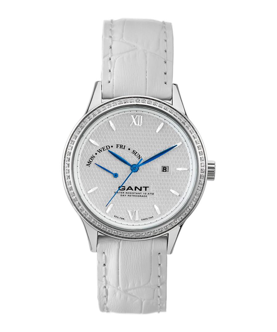 Silver-tone & white leather watch Sale - gant