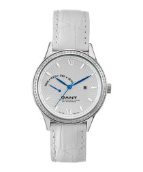 Silver-tone & white leather watch