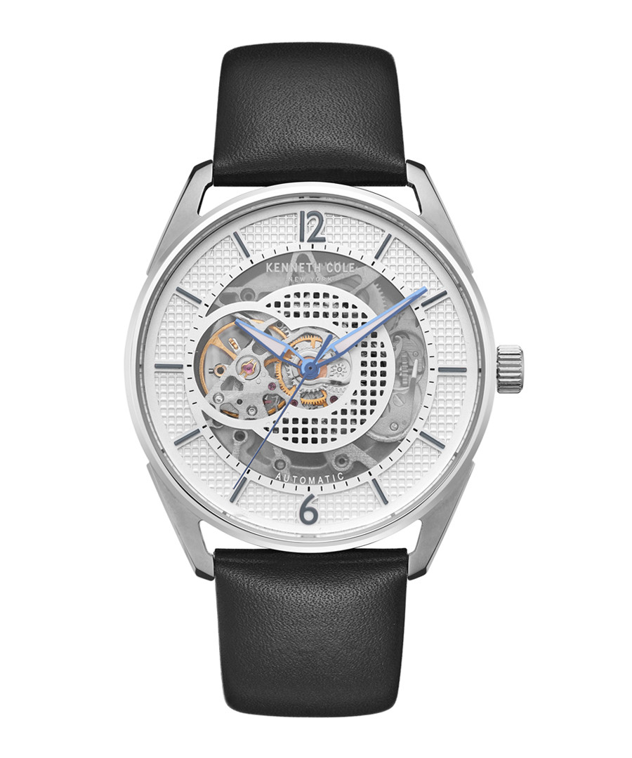 Silver-tone & black leather watch Sale - ken cole
