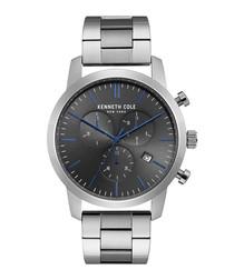 Silver-tone & black dial watch
